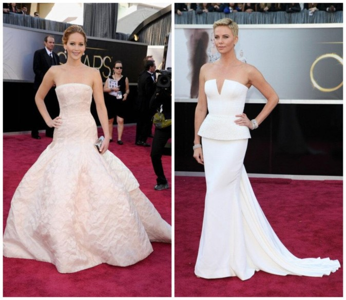 Match de robes Dior entre Jennifer Lawrence et Charlize Theron