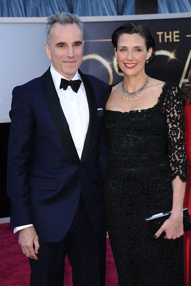 Daniel Day Lewis et sa femme Rebecca Miller sur le tapis rouge des Oscars à Los Angeles le 24 février 2013