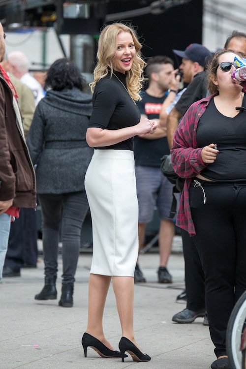 Katherine Heigl en tournage à New York, le 14 octobre 2015
