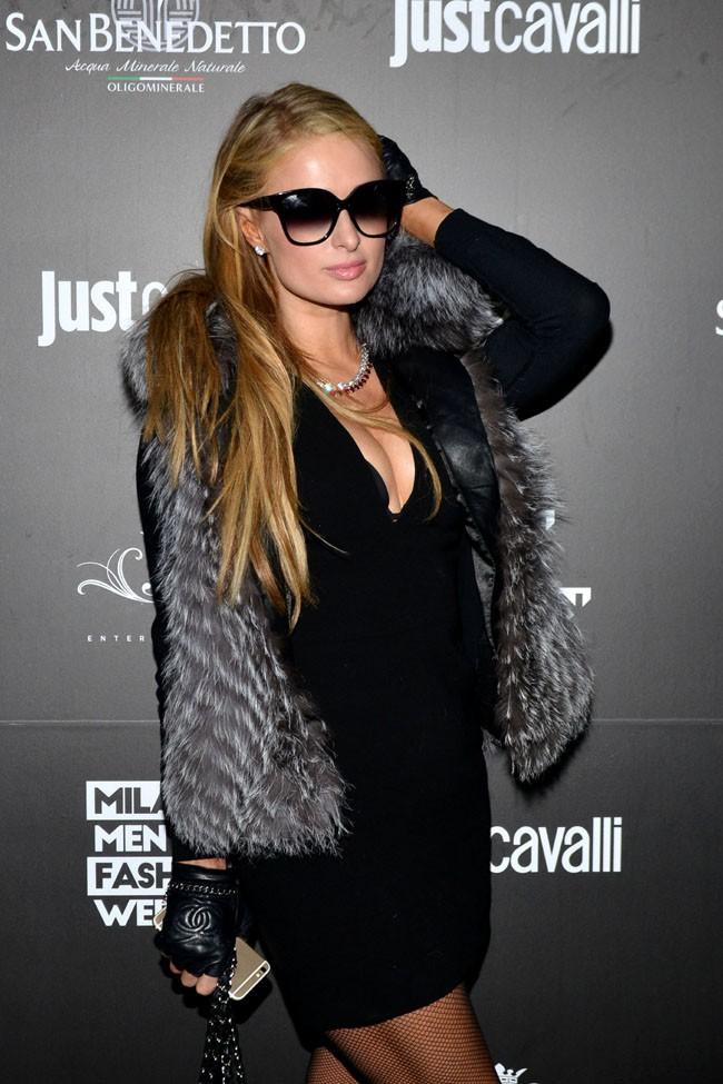Paris Hilton à la Fashion Week de Milan le 17 janvier 2015