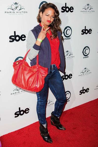 """Christina Milian lors de la soirée de lancement du nouveau single de Paris Hilton """"Good Time"""" à Hollywood, le 8 octobre 2013."""