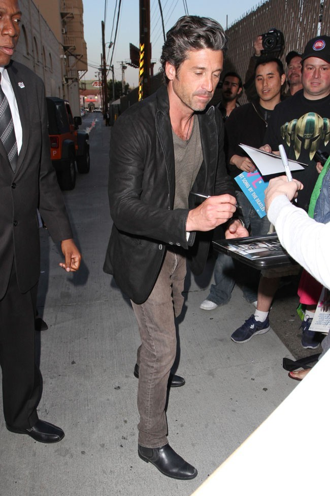 Patrick Dempsey à la sortie de l'émission de Jimmy Kimmel, à Hollywood, le 4 avril 2013