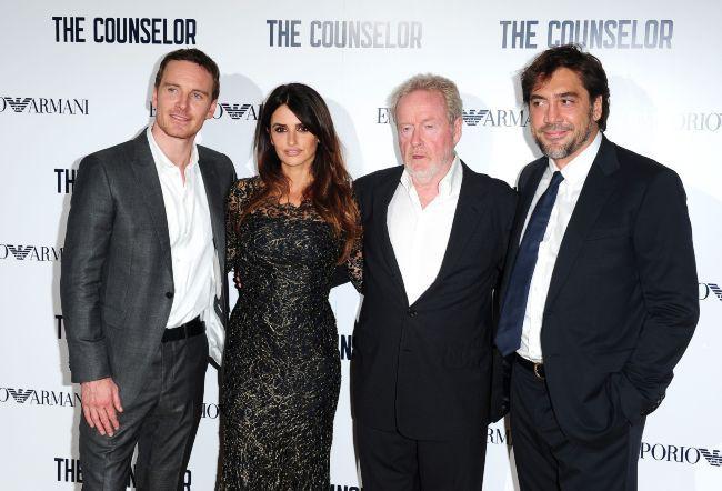"""Michael Fassbender, Penelope Cruz, Ridley Scott et Javier Bardem lors de la première du film """"Counselor"""" à Londres, le 3 octobre 2013."""