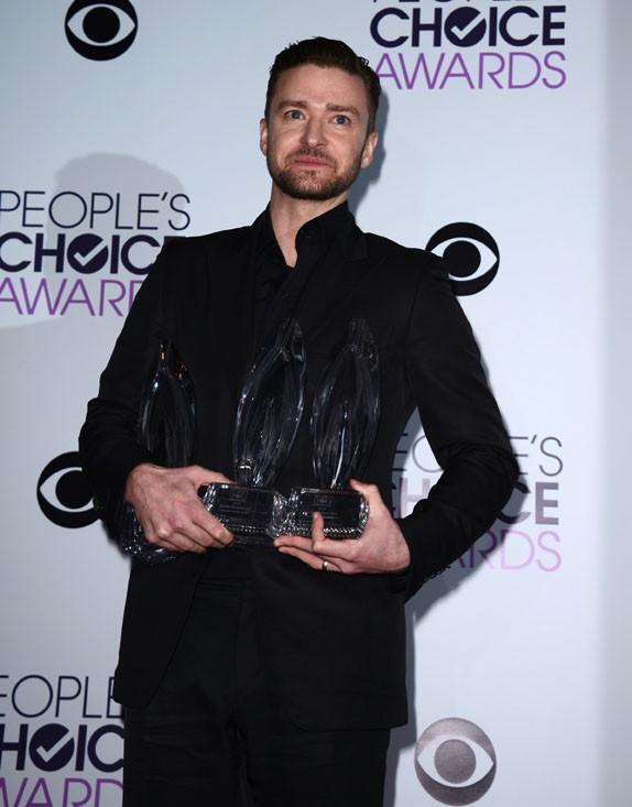 Justin Timberlake à la cérémonie des People's Choice Awards organisée à Los Angeles, le 8 janvier 2014