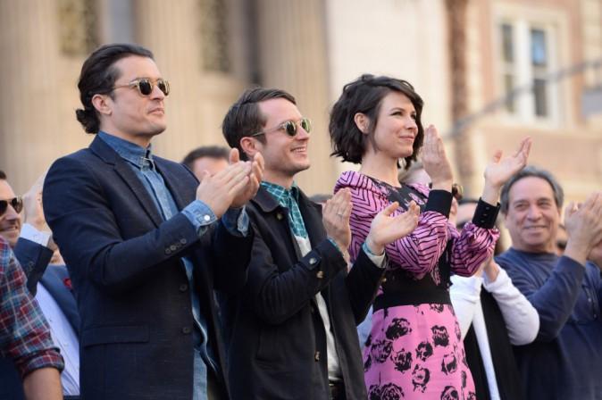 Evangeline Lilly, Elijah Wood et Orlando Bloom le 8 décembre 2014