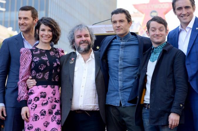 Peter Jackson, Evangeline Lilly, Elijah Wood, Andy Serkis, Orlando Bloom et Richard Armitage le 8 décembre 2014