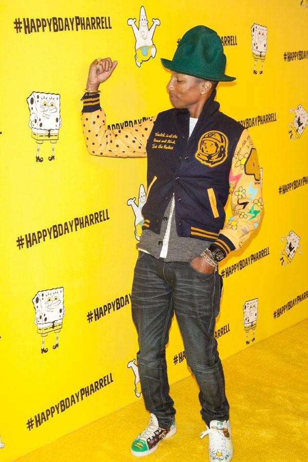 Pharrell Williams à sa soirée d'anniversaire Bob l'éponge organisée à New-York le 4 avril 2014