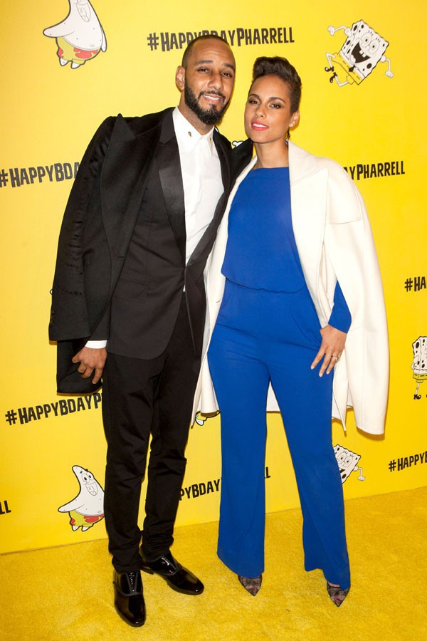 Swizz Beatz et Alicia Keys à la soirée d'anniversaire de Pharrell Williams organisée à New-York le 4 avril 2014