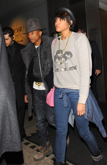Pharrell Williams avec sa femme Helen à Londres le 5 février 2014