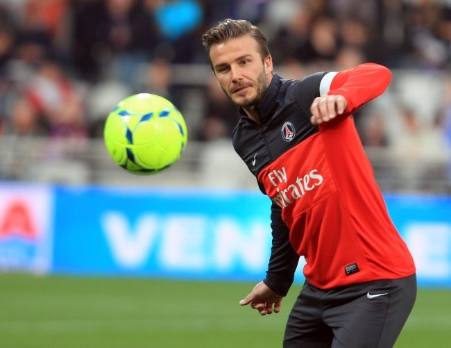 David Beckham lors du match PSG-OL, dimanche 12 mai 2013 à Lyon