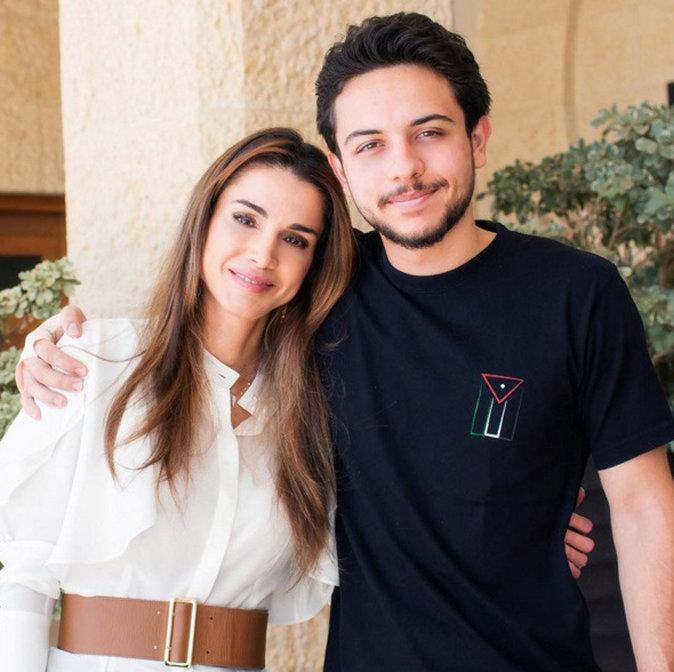 La reine Rania et son fils aîné, Hussein (21 ans)