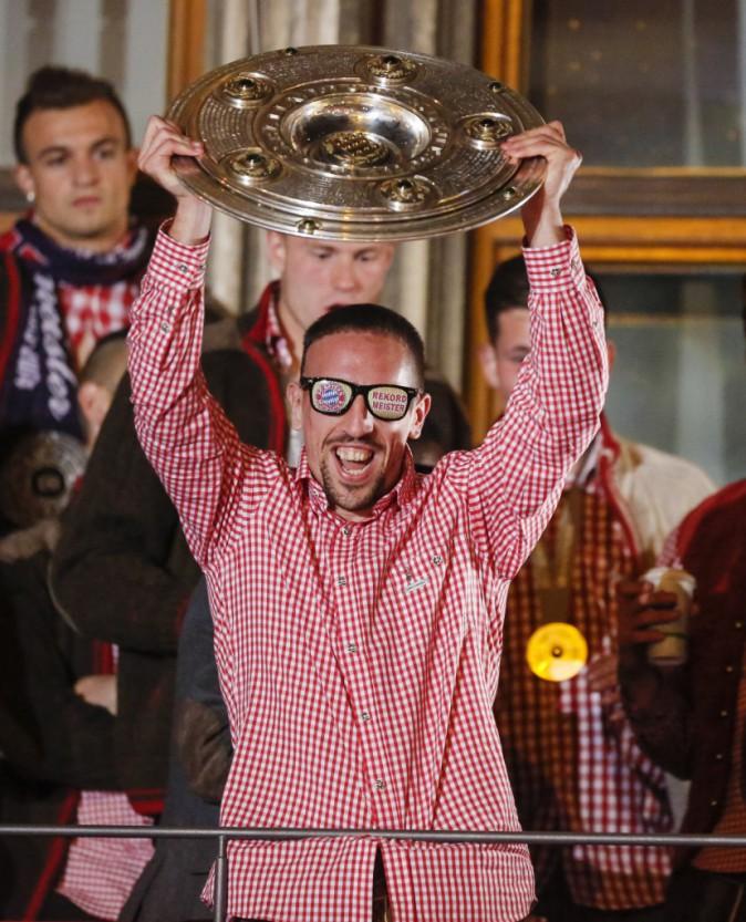 Franck Ribéry fête sa victoire en ligue des champions avec le Bayern de Munich, mai 2013
