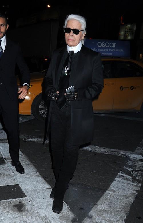 Karl Lagerfeld à l'ouverture du flagship Fendi à New York, le 13 février 2015