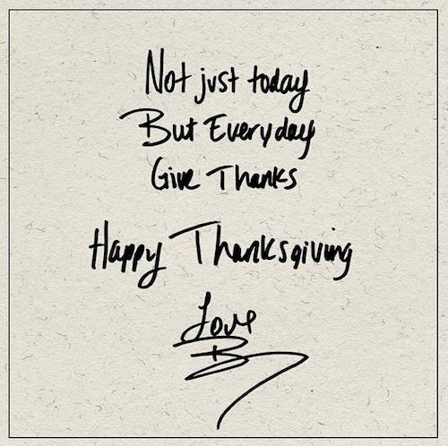 """Thanksgiving 2014: Beyoncé: """"Pas seulement aujourd'hui, mais pour chaque jour qui passe, merci. Joyeux Thanksgiving"""""""