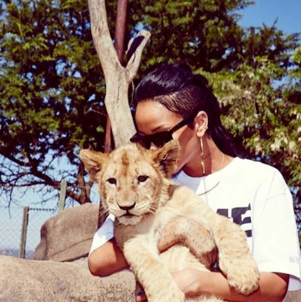 Rihanna dans une réserve sud-africaine le 13 octobre 2013