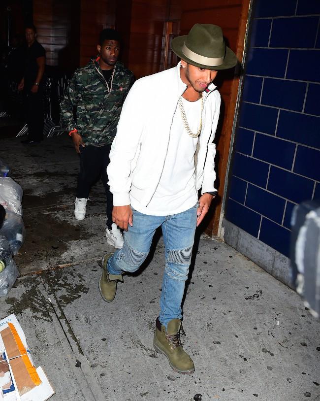 Lewis Hamilton à New-York le 11 août 2015
