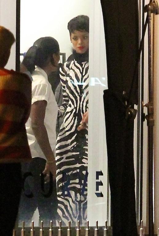 Rihanna sur le tournage du nouveau clip d'A$AP Rocky à New-York le 15 août 2013
