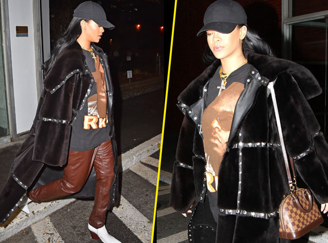Rihanna : total look peau de bête à New York