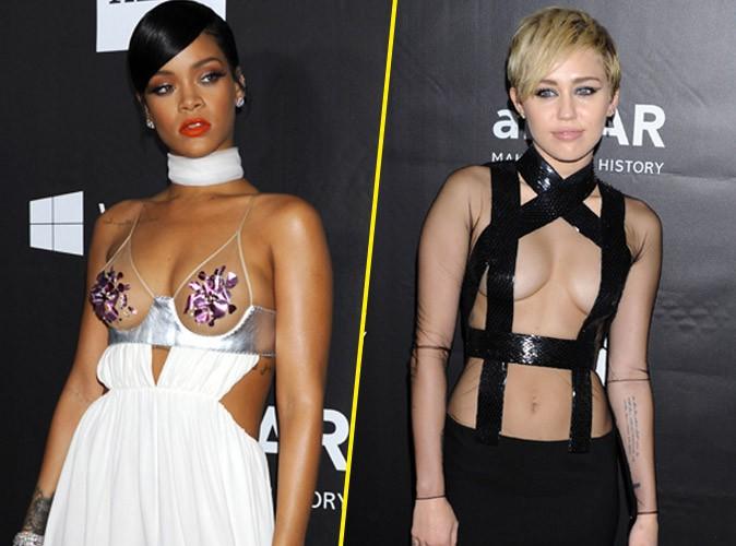 Rihanna vs Miley Cyrus : duel de d�collet�s chocs au gala de l'AmfAR 2014 !
