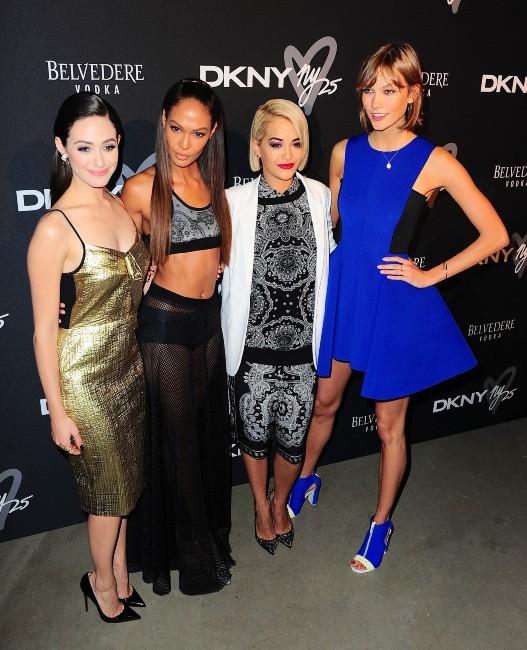 Emmy Rossum, Joan Smalls, Rita Ora et Karlie Kloss lors de la B-Day Party de la marque DKNY à New York, le 9 septembre 2013.