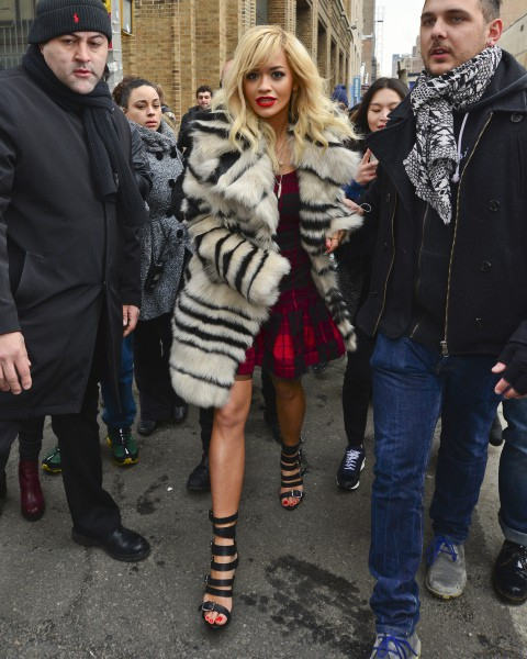 Rita Ora à la sortie du défilé DKNY à New York, le 9 février 2014.