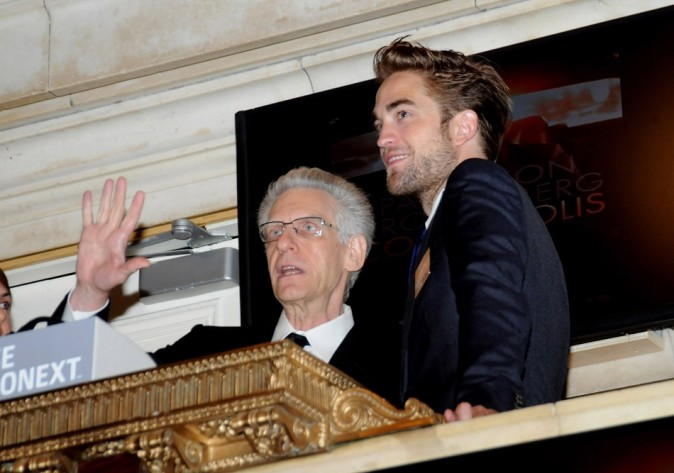 Robert Pattinson et David Cronenberg le 14 août 2012 à la Bourse de New York