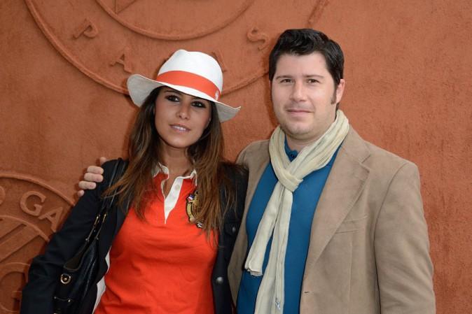 Karine Ferri avec son frère David à Roland Garros le 27 mai 2014