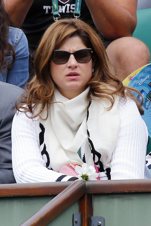 Mirka Federer à Roland-Garros le 25 mai 2014