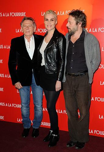 Roman Polanski, Emmanuelle Seigner et Mathieu Amalric à Paris le 4 novembre 2013