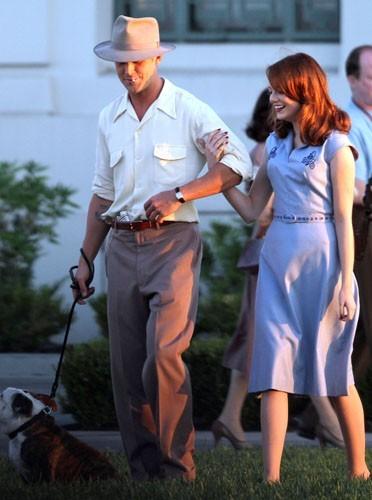 """Ryan Gosling et Emma Stone sur le tournage de """" The Gangster Squad"""""""