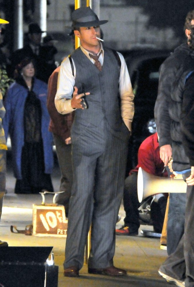 Ryan Gosling sur le tournage du film Ganster Squad à Hollywood, le 30 novembre 2011.