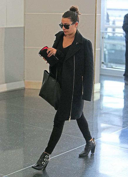 Le total look black comme Lea Michele