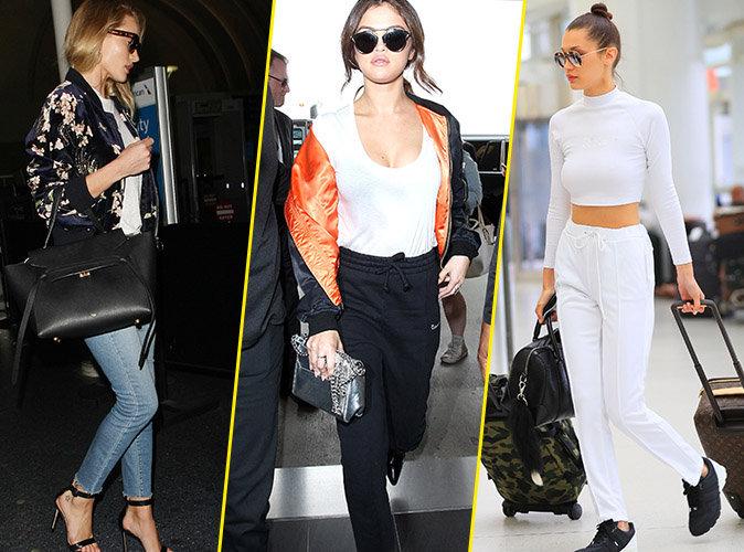 Photos : Sac de luxe, lunettes noires, escarpins... les pièces à piquer aux people pour prendre l'avion avec style !
