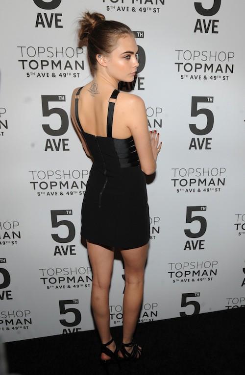 Cara Delevingne à l'inauguration de la boutique Topshop à New York, le 4 novembre 2014