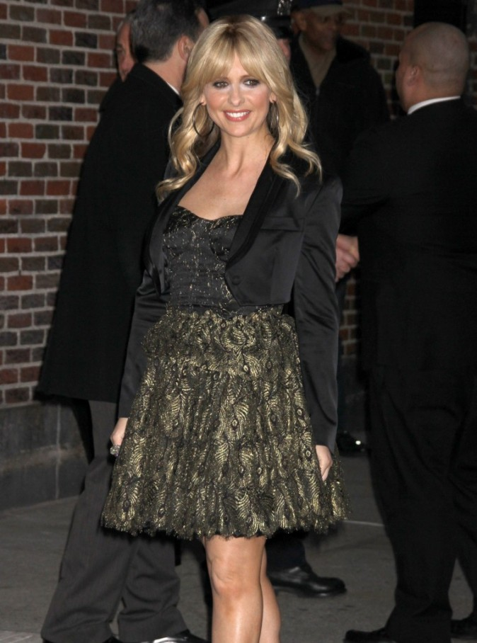 Sarah Michelle Gellar se rendant au Late Show With David Letterman à New York, le 6 février 2012.