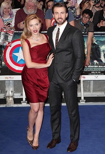 Scarlett Johansson et Chris Evans à Londres le 20 mars 2014