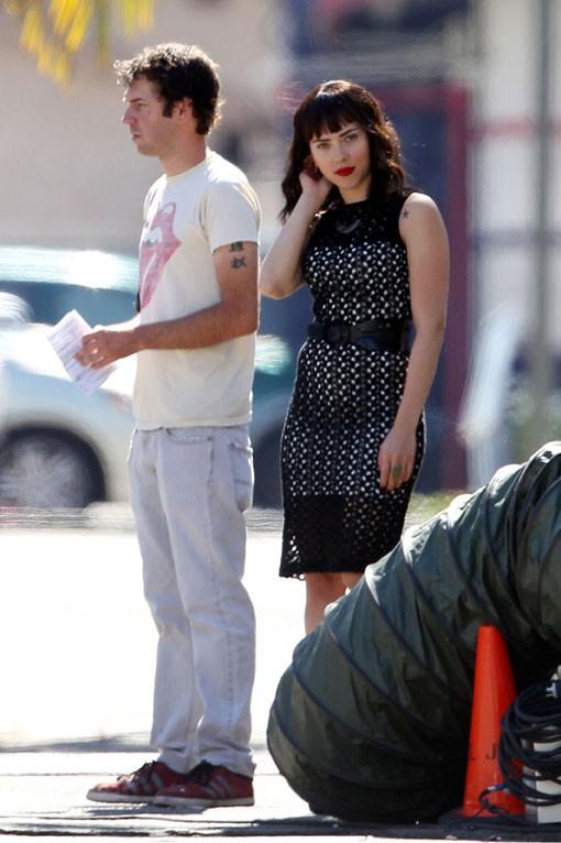 Scarlett Johansson sur le tournage de Chief à Los Angeles le 17 juillet 2013