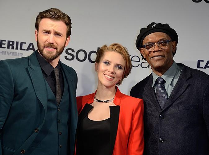Chris Evans, Scarlett Johansson et Samuel L. Jackson à Paris le 17 mars 2014
