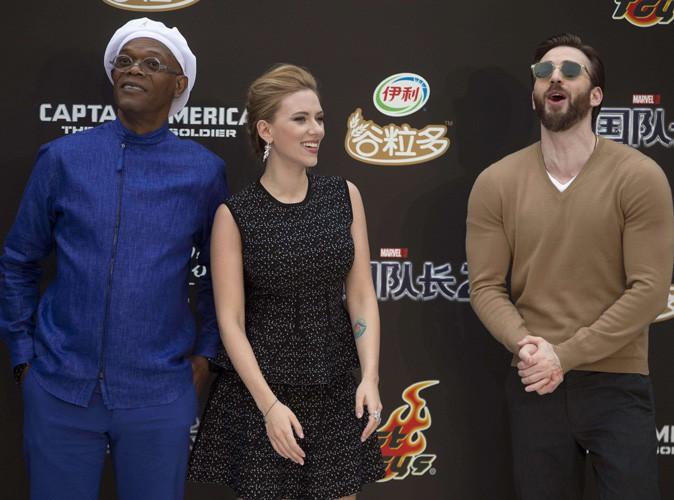 Samuel L. Jackson, Scarlett Johansson et Chris Evans en promo à Pékin, le 24 mars 2014.