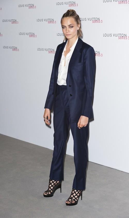 Cara Delevingne à la soirée Louis Vuitton series 3, à Londres le 20 septembre 2015