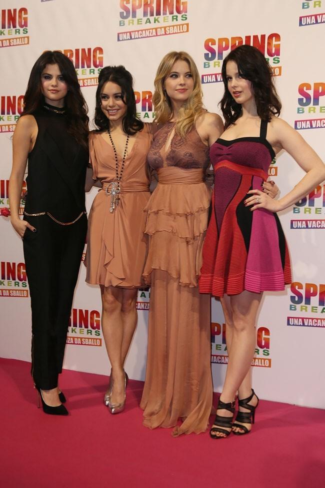 Les quatre stars de Spring Breakers le 22 février 2013 à Rome