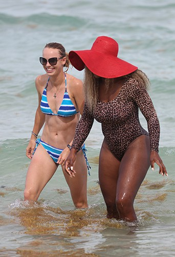 Serena Williams et Caroline Wozniacki à Miami le 31 mai 2014