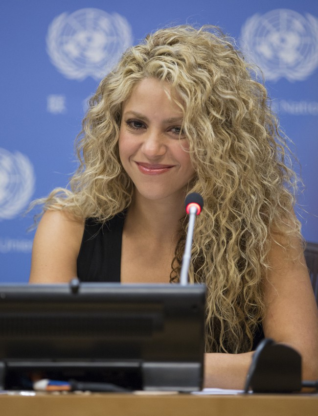 Shakira au siège de l'ONU, à New-York, le 22 septembre 2015