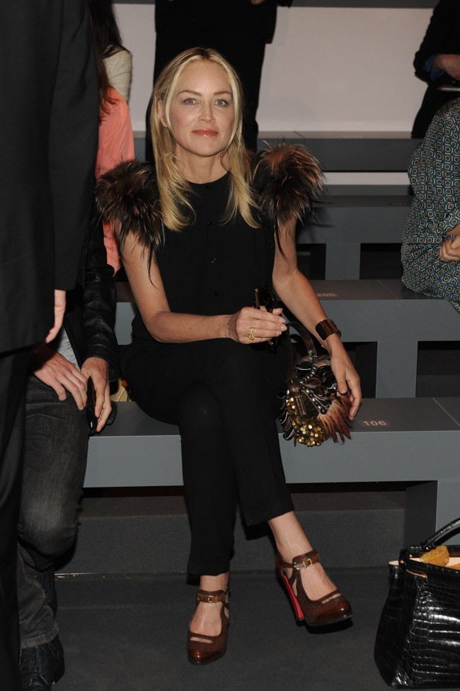 Sharon Stone au défilé Fendi le 22 septembre 2012 à Milan
