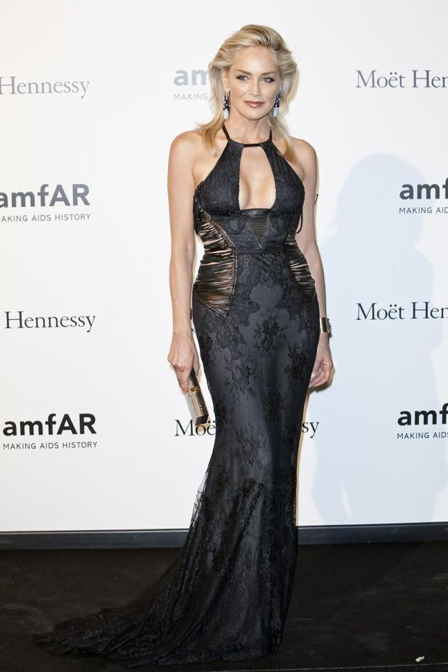 Sharon Stone au gala de l'AmfAR le 22 septembre 2012 à Milan