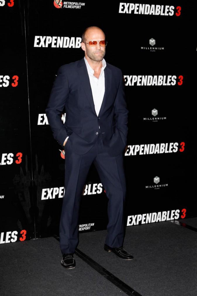 Jason Statham lors du photocall d'Expendables 3 à Paris le 7 août 2014.