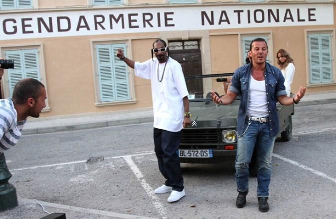 Le rappeur Snoop Dogg sur le tournage de son nouveau clip avec Jean-Roch, le 3 août 2011 à St Tropez !