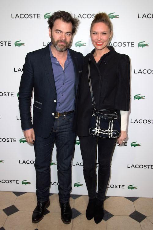 Clovis Cornillac et sa femme, Lilou Fogli, à la soirée Lacoste à Paris, le 22 janvier 2014