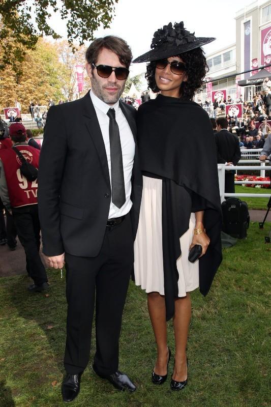 Sonia Rolland et Jalil Lespert lors du 91e Prix de l'Arc de Triomphe à Longchamp, le 7 octobre 2012.