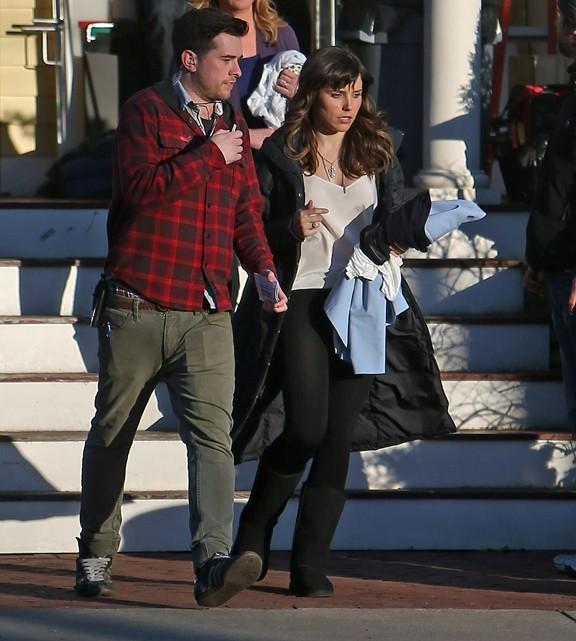 Sophia Bush en tournage sur la série Hatfields & McCoys à Watertown le 27 mars 2013